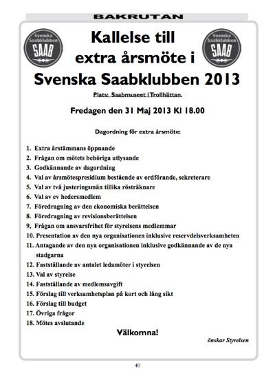 Kallelse till extra årsmöte i Svenska Saabklubben 2013