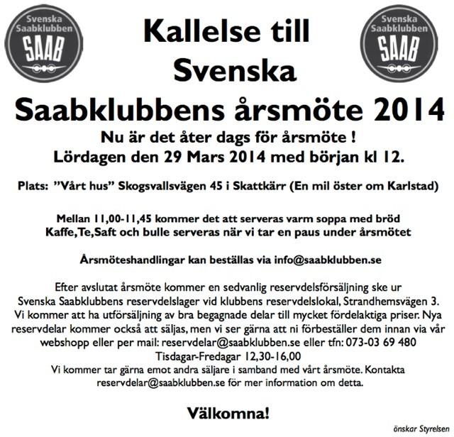 Kallelse årsmöte Svenska Saabklubben 2014