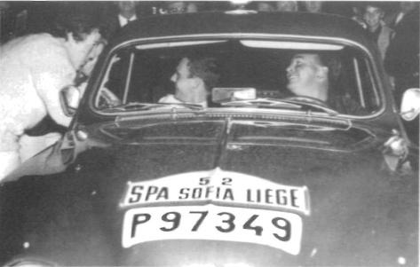 Vid starten till Spa-Sofia-Liige 1963, 560 mils maratonkörning genom Europa.