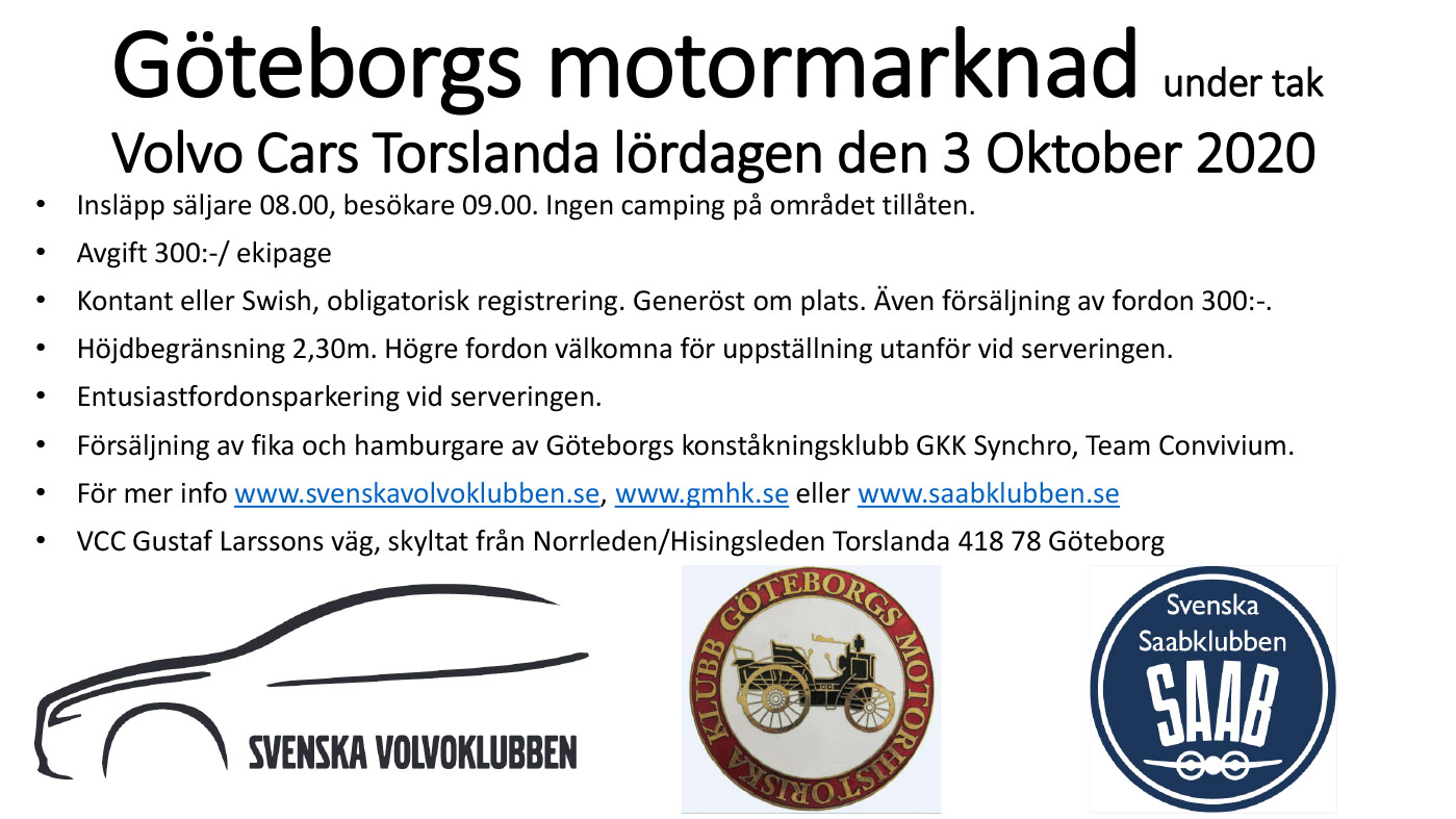 Veteranmarknad under tak Volvo Cars Torslanda 7 Oktober 9-15